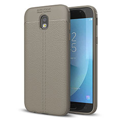 Soft Silicone Gel Leather Snap On Case for Samsung Galaxy J5 (2017) SM-J750F Gray
