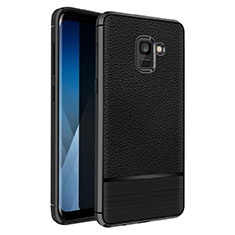 Soft Silicone Gel Leather Snap On Case Q01 for Samsung Galaxy A5 (2018) A530F Black