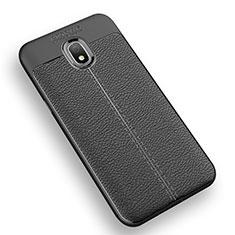 Soft Silicone Gel Leather Snap On Case Q01 for Samsung Galaxy J3 Star Black