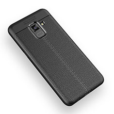 Soft Silicone Gel Leather Snap On Case W01 for Samsung Galaxy A5 (2018) A530F Black