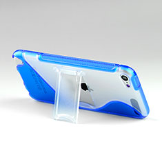 Soft TPU Transparent Stands S-Line Cover for Apple iPod Touch 5 Blue