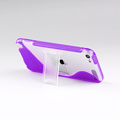 Soft TPU Transparent Stands S-Line Cover for Apple iPod Touch 5 Purple