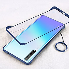 Transparent Crystal Hard Case Back Cover H01 for Huawei Y8p Blue