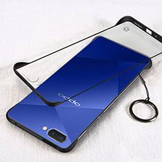 Transparent Crystal Hard Case Back Cover H01 for Oppo A12e Black