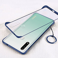 Transparent Crystal Hard Case Back Cover H01 for Oppo A31 Blue