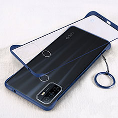 Transparent Crystal Hard Case Back Cover H01 for Oppo A53s Blue