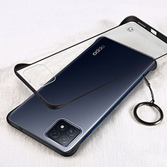 Transparent Crystal Hard Case Back Cover H01 for Oppo A72 5G Black