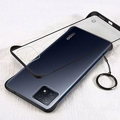 Transparent Crystal Hard Case Back Cover H01 for Oppo A73 5G Black