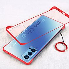 Transparent Crystal Hard Case Back Cover H01 for Oppo Reno4 5G Red
