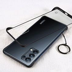 Transparent Crystal Hard Case Back Cover H01 for Oppo Reno5 5G Black