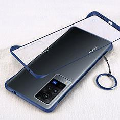 Transparent Crystal Hard Case Back Cover H01 for Vivo X60 Pro 5G Blue