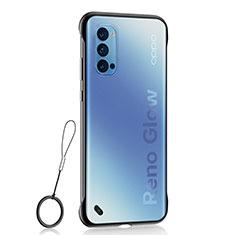 Transparent Crystal Hard Case Back Cover H02 for Oppo Reno4 5G Black