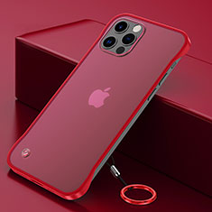 Transparent Crystal Hard Case Back Cover N01 for Apple iPhone 12 Pro Max Red