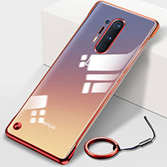 Transparent Crystal Hard Rigid Case Back Cover H01 for OnePlus 8 Pro Red