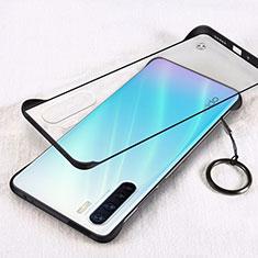 Transparent Crystal Hard Rigid Case Back Cover H01 for Oppo A91 Black