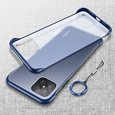 Transparent Crystal Hard Rigid Case Back Cover H01 for Oppo A92s 5G Blue