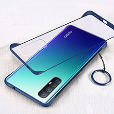 Transparent Crystal Hard Rigid Case Back Cover H01 for Oppo Find X2 Neo Blue