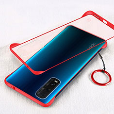 Transparent Crystal Hard Rigid Case Back Cover H01 for Oppo Find X2 Red