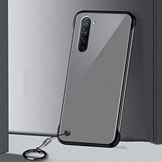 Transparent Crystal Hard Rigid Case Back Cover H01 for Oppo K7 5G Black