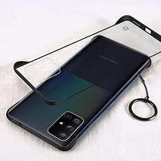Transparent Crystal Hard Rigid Case Back Cover H01 for Samsung Galaxy A71 5G Black