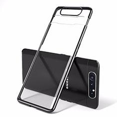 Transparent Crystal Hard Rigid Case Back Cover H01 for Samsung Galaxy A90 4G Black