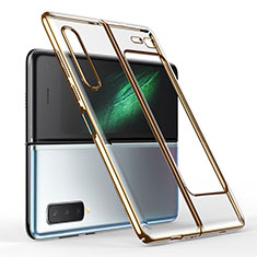 Transparent Crystal Hard Rigid Case Back Cover H01 for Samsung Galaxy Fold Gold