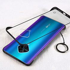 Transparent Crystal Hard Rigid Case Back Cover H01 for Vivo X50 Lite Black