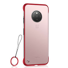 Transparent Crystal Hard Rigid Case Back Cover S01 for OnePlus 7T Red