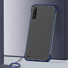 Transparent Crystal Hard Rigid Case Back Cover S01 for Samsung Galaxy A70 Blue