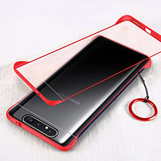 Transparent Crystal Hard Rigid Case Back Cover S01 for Samsung Galaxy A80 Red