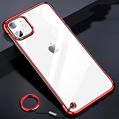 Transparent Crystal Hard Rigid Case Back Cover S03 for Apple iPhone 11 Red