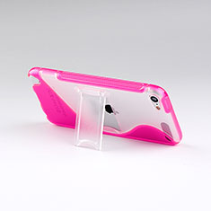 Transparent Silicone Stands S-Line Case for Apple iPod Touch 5 Hot Pink