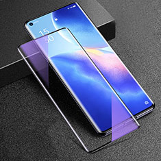 Ultra Clear Anti Blue Light Full Screen Protector Tempered Glass for Oppo Reno5 Pro+ Plus 5G Black