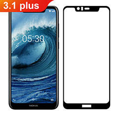 Ultra Clear Full Screen Protector Tempered Glass for Nokia 3.1 Plus Black
