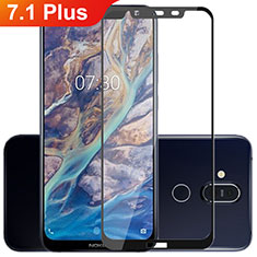 Ultra Clear Full Screen Protector Tempered Glass for Nokia 7.1 Plus Black