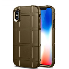 Ultra-thin Silicone Gel Soft Case 360 Degrees Cover for Apple iPhone X Brown