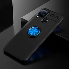 Ultra-thin Silicone Gel Soft Case Cover with Finger Ring Stand for Realme C15 Blue and Black