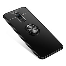 Ultra-thin Silicone Gel Soft Case Cover with Finger Ring Stand for Samsung Galaxy A6 Plus Black