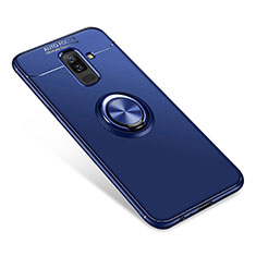 Ultra-thin Silicone Gel Soft Case Cover with Finger Ring Stand for Samsung Galaxy A9 Star Lite Blue