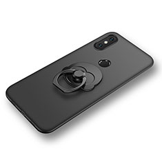 Ultra-thin Silicone Gel Soft Case Cover with Finger Ring Stand for Xiaomi Mi 8 Black