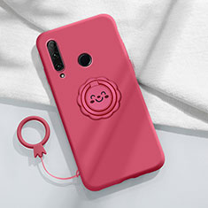 Ultra-thin Silicone Gel Soft Case Cover with Magnetic Finger Ring Stand A01 for Huawei Enjoy 10 Plus Red