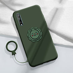 Ultra-thin Silicone Gel Soft Case Cover with Magnetic Finger Ring Stand A01 for Huawei Enjoy 10S Green