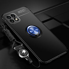 Ultra-thin Silicone Gel Soft Case Cover with Magnetic Finger Ring Stand A01 for Huawei Enjoy 20 5G Blue and Black