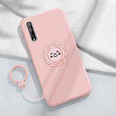 Ultra-thin Silicone Gel Soft Case Cover with Magnetic Finger Ring Stand A01 for Huawei Y8p Pink