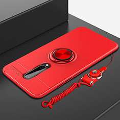 Ultra-thin Silicone Gel Soft Case Cover with Magnetic Finger Ring Stand A01 for OnePlus 8 Red