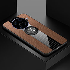 Ultra-thin Silicone Gel Soft Case Cover with Magnetic Finger Ring Stand A01 for Oppo Ace2 Brown