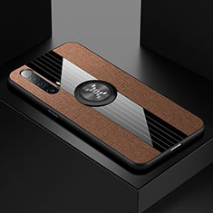 Ultra-thin Silicone Gel Soft Case Cover with Magnetic Finger Ring Stand A01 for Realme X50 5G Brown