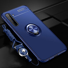 Ultra-thin Silicone Gel Soft Case Cover with Magnetic Finger Ring Stand A01 for Realme X50 Pro 5G Blue