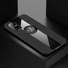 Ultra-thin Silicone Gel Soft Case Cover with Magnetic Finger Ring Stand A01 for Samsung Galaxy A71 5G Black