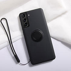 Ultra-thin Silicone Gel Soft Case Cover with Magnetic Finger Ring Stand A01 for Samsung Galaxy S21 Plus 5G Black